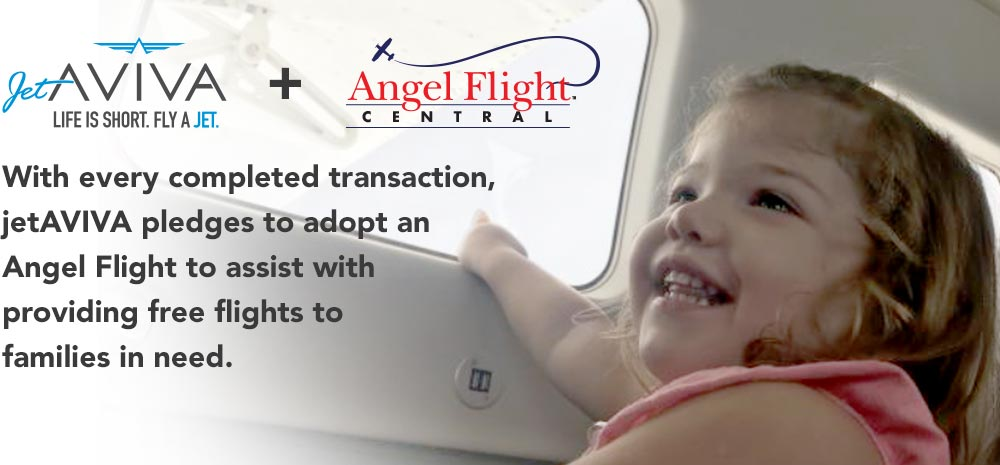With every completed transaction, jetAVIVA pledges to adopt an Angel Flight to assist with providing free flights to families in need.